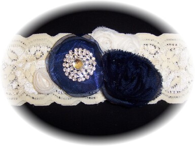 Ivory and Navy Blue Lace Wedding Garter 513