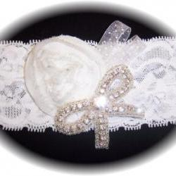 White Rose and Rhinestone Bow Garter 500