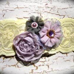 Vintage Shades of Lilac Lace Wedding Garter 516