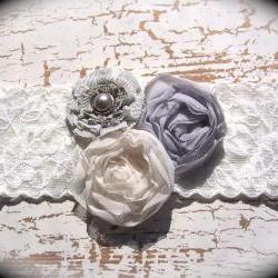 Vintage Shades of Gray Lace Wedding Garter 517
